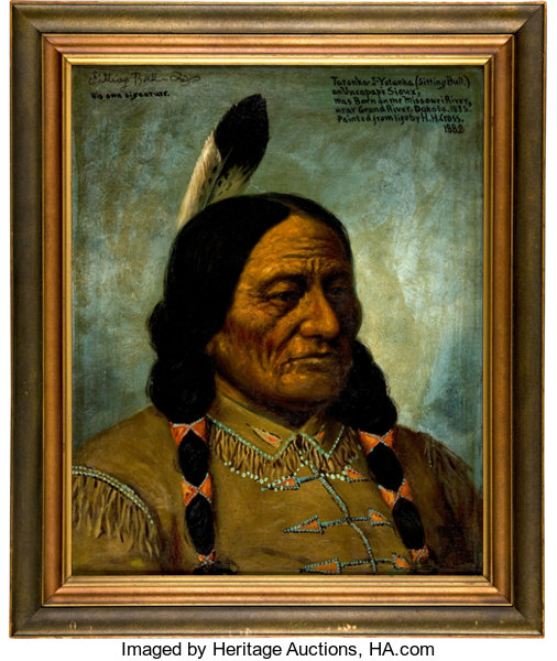 Western Expansion Sitting Bull A Marvelous Oil Portrait Painted From Life By H