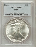 Modern Bullion Coins: , 1986 $1 Silver Eagle MS68 PCGS. PCGS Population (1026/4954). NGCCensus: (333/91473). Mintage: 5,393,005. Numismedia Wsl. P...