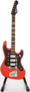 Musical Instruments:Electric Guitars, 1960's Hofner 3-Pickup Red Solid Body Electric Guitar....