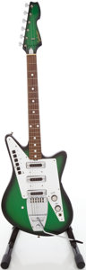 Musical Instruments:Electric Guitars, 1960's Galanti Grand Prix Greenburst Solid Body Electric Guitar, #7201....