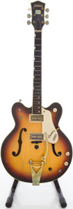 Musical Instruments:Electric Guitars, Circa 1970 Gretsch Sunburst Semi-Hollow Body Electric Guitar, #40137....