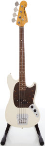 Musical Instruments:Bass Guitars, Fender Mustang Olympic White Electric Bass Guitar, #R087579....