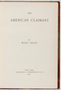 Books:Literature Pre-1900, Mark Twain. The American Claimant. New York: Webster, 1892.First edition. Octavo. 277 pages. Illustrated. Origi...