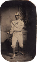 Baseball Collectibles:Photos, 19th Century Tintype Photo of Baseball Player Catching Ball. ...