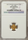 California Fractional Gold: , 1872 50C Indian Round 50 Cents, BG-1048, Low R.4, -- Bent -- NGCDetails. UNC. NGC Census: (0/10). PCGS Population (4/97). ...