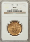 Indian Eagles, 1916-S $10 MS61 NGC....