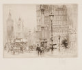 Fine Art - Work on Paper:Print, WILLIAM WALCOT (British, 1874-1943). Group of five: London and Paris Street Scenes. Drypoint etchings. Main image: 3-1/2... (Total: 5 Items)