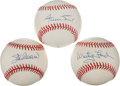Baseball Collectibles:Balls, Stan Musial, Willie Mays and White Ford Single Signed Baseballs Lotof 3....