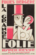 Decorative Prints, European:Prints, A FRAMED MAURICE PICAUD (FRENCH, 1900-1970) LITHOGRAPH: LA GRANDEFOLIE . Paris, France, circa 1940. Marks: PICO . 20-1/...