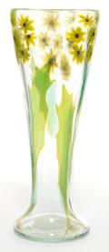 Art Glass:Tiffany , TIFFANY STUDIOS PAPERWEIGHT GLASS VASE . Clear glass with yellow,black and green Black-Eyed Susan internal motif, circa...