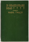 Books:Fiction, Mark Twain. Is Shakespeare Dead? New York: Harper &Brothers, 1909. First edition, first printing. Octavo. Publisher...