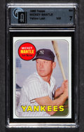 Baseball Cards:Singles (1960-1969), 1969 Topps Mickey Mantle, Yellow Letters #500 GAI NM 7....