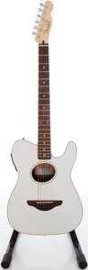 Musical Instruments:Acoustic Guitars, Fender Telecoustic Silver Sparkle Acoustic Electric Guitar, #CC02022219....