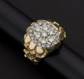 Estate Jewelry:Rings, Gent's Diamond & 14k Gold Nugget Ring. ...