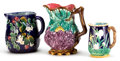 Ceramics & Porcelain, British:Antique  (Pre 1900), A GEORGE JONES MAJOLICA JUG AND TWO CONTINENTAL JUGS . George Jones & Sons, Staffordshire, England, circa 1880. Marks: GJ... (Total: 3 Items)