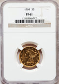 Proof Liberty Half Eagles: , 1904 $5 PR61 NGC. NGC Census: (1/18). PCGS Population (3/25).Mintage: 136. Numismedia Wsl. Price for problem free NGC/PCGS...