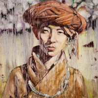 HUNG LIU (Chinese, b. 1948) Chinese Portrait, 1996 Oil on canvas 31-3/4 x 31-3/4 inches (80.6 x 8