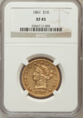 Liberty Eagles: , 1861 $10 XF45 NGC. NGC Census: (63/467). PCGS Population (84/217).Mintage: 113,100. Numismedia Wsl. Price for problem free...