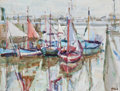 Paintings, SHIRL GOEDIKE (American, b. 1923). Fishing Boats at Honfleur no. 2, 1971. Oil on canvas. 18 x 24 inches (45.7 x 61.0 cm)...