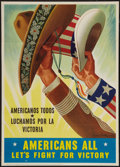 """Movie Posters:War, World War II Propaganda (U.S. Government Printing Office, 1943).Poster (20"""" X 28""""). OWI Poster No. 65. """"Americans All..."""" W..."""