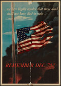 "Movie Posters:Miscellaneous, World War II Propaganda (U.S. Government Printing Office, 1942).Poster (14"" X 20""). OWI Poster No. 14. ""Remember December 7..."