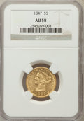 Liberty Half Eagles: , 1847 $5 AU58 NGC. NGC Census: (241/158). PCGS Population (50/107).Mintage: 915,981. Numismedia Wsl. Price for problem free...