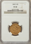 Liberty Half Eagles: , 1869-S $5 VF30 NGC. NGC Census: (9/93). PCGS Population (8/42). Mintage: 31,000. Numismedia Wsl. Price for problem free NGC...