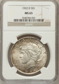 Peace Dollars: , 1922-D $1 MS65 NGC. NGC Census: (913/239). PCGS Population(1097/157). Mintage: 15,063,000. Numismedia Wsl. Price for probl...