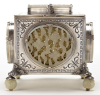 AN EDWARD FARMER SILVER, SILVER GILT AND CHINESE JADE BOX Edward I. Farmer, New York, New York, circa 1925 The
