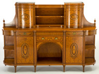 A WRIGHT & MANSFIELD VICTORIAN SATINWOOD CABINET Wright & Mansfield, London, England, circa 1870-1880 Marks: &am...