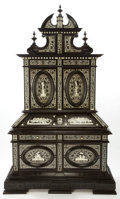 Furniture : Continental, AN ITALIAN EBONIZED WOOD AND IVORY SECRETARY . Maker unknown,probably Milan, Italy, circa 1870. Unmarked. 110-5/8 inches hi...(Total: 3 Items)