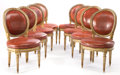 Furniture , A SET OF EIGHT LOUIS XVI PAINTED AND GILT WOOD SIDE CHAIRS . Maker unknown, France, circa 1780. Unmarked. 35-1/4 inches high... (Total: 8 Items)