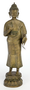 Asian:Other, A TIBETAN BRONZE TEMPLE FIGURE . Maker unknown, Tibetan, 19thcentury. 52-1/2 inches high (133.4 cm). ...