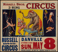 """Circus Poster (Russell Brothers, 1938). Poster (28"""" X 42"""") With Attached Date and Place Snipe (10.5"""" X 42..."""