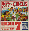 "Movie Posters:Miscellaneous, Circus Poster (Clyde Beatty-Cole Brothers Circus, 1957). Poster (28"" X 20.5') With Attached Date and Place Snipe (9"" X 28"")...."