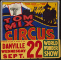 """Movie Posters:Western, Tom Mix Circus Poster (1937). Poster (28"""" X 21"""") With Date and Place Snipe (9"""" X 28'). Western.. ..."""