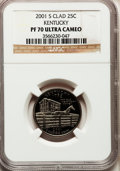 Proof Statehood Quarters: , 2001-S 25C Kentucky Clad PR70 Ultra Cameo NGC. NGC Census: (753). PCGS Population (244). Numismedia Wsl. Price for problem...
