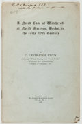 Books:Americana & American History, C. L'Estrange Ewen. INSCRIBED. A Noted Case of Witchcraft inNorth Moreton, Berks, in the early 17th Century. [Londo...