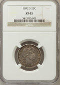 Barber Quarters: , 1892-S 25C XF45 NGC. NGC Census: (4/84). PCGS Population (5/125).Mintage: 964,079. Numismedia Wsl. Price for problem free ...