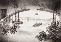 LOUIS LOZOWICK (American, 1892-1973) Spanning the Hudson, 1936 Lithograph Image: 9-1/4 x 13-1/4 i