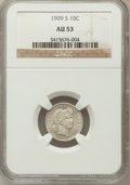 Barber Dimes: , 1909-S 10C AU53 NGC. NGC Census: (3/68). PCGS Population (3/64).Mintage: 1,000,000. Numismedia Wsl. Price for problem free...