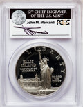 Modern Issues, 1986-S $1 Statue of Liberty Silver Dollar Insert autographed ByJohn M. Mercanti,12th Chief Engraver of the U.S. Mint, PR69 D...
