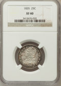 Bust Quarters: , 1835 25C XF40 NGC. NGC Census: (33/298). PCGS Population (84/249). Mintage: 1,952,000. Numismedia Wsl. Price for problem fr...
