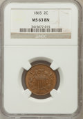 Two Cent Pieces: , 1865 2C MS63 Brown NGC. NGC Census: (342/1005). PCGS Population(224/226). Mintage: 13,640,000. Numismedia Wsl. Price for p...
