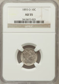 Barber Dimes: , 1893-O 10C AU55 NGC. NGC Census: (3/112). PCGS Population (8/111).Mintage: 1,760,000. Numismedia Wsl. Price for problem fr...