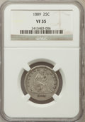 Seated Quarters: , 1889 25C VF35 NGC. NGC Census: (2/165). PCGS Population (4/183).Mintage: 12,000. Numismedia Wsl. Price for problem free NG...