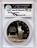 Modern Issues: , 1986-S $1 Statue of Liberty Silver Dollar Insert autographed ByJohn M. Mercanti,12th Chief Engraver of the U.S. Mint, PR...