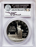 Modern Issues, 1986-S $1 Statue of Liberty Silver Dollar Insert autographed ByJohn M. Mercanti,12th Chief Engraver of the U.S. Mint, PR...