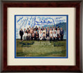 Baseball Collectibles:Photos, Baseball Hall of Famers Multi Signed Photograph....