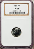 Proof Roosevelt Dimes: , 1955 10C PR68 NGC. NGC Census: (694/90). PCGS Population (151/2).Mintage: 378,200. Numismedia Wsl. Price for problem free ...